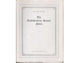杜鹃花协会笔记 The Rhododendron Society Notes